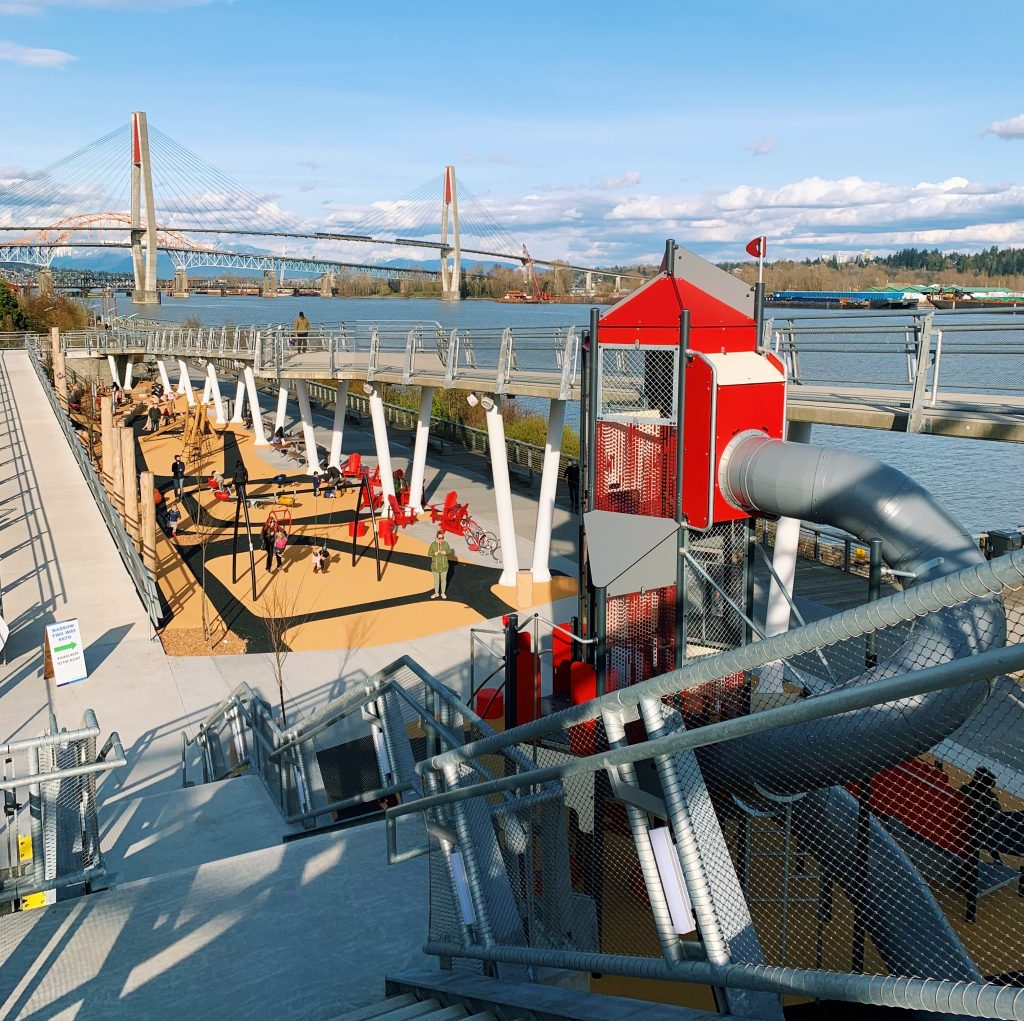 Large playground overlooking the Fraser River