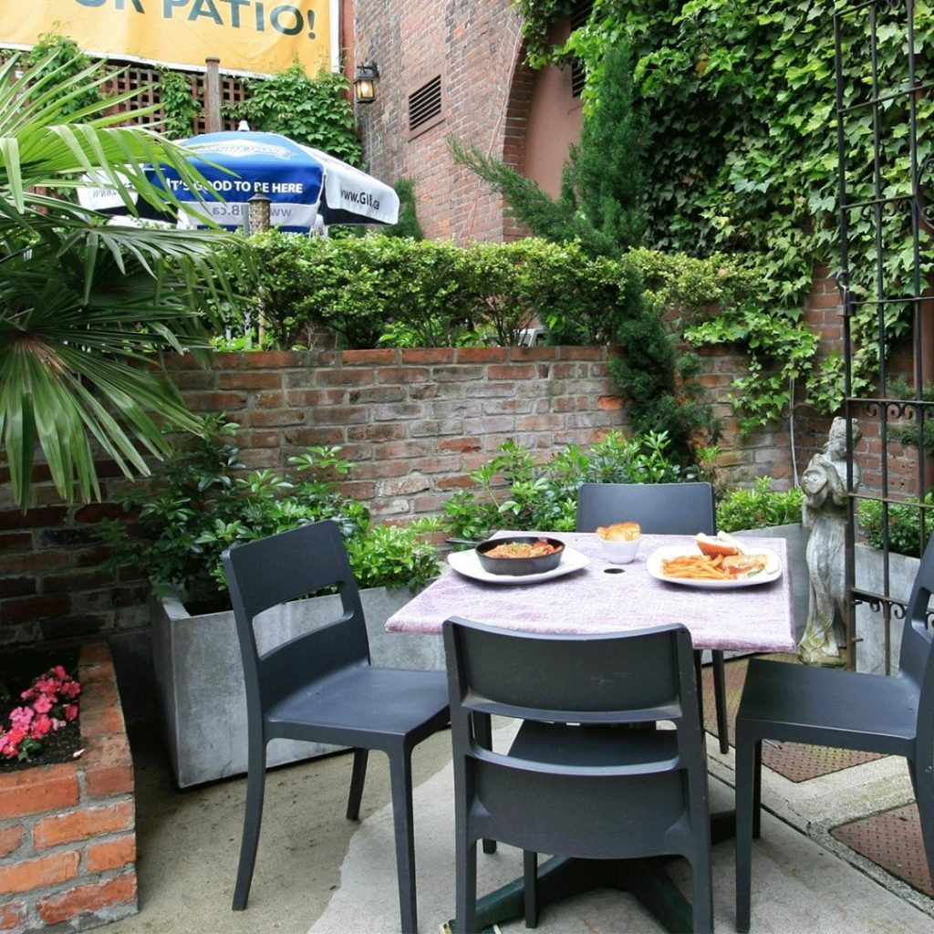 Outdoor patio table with food