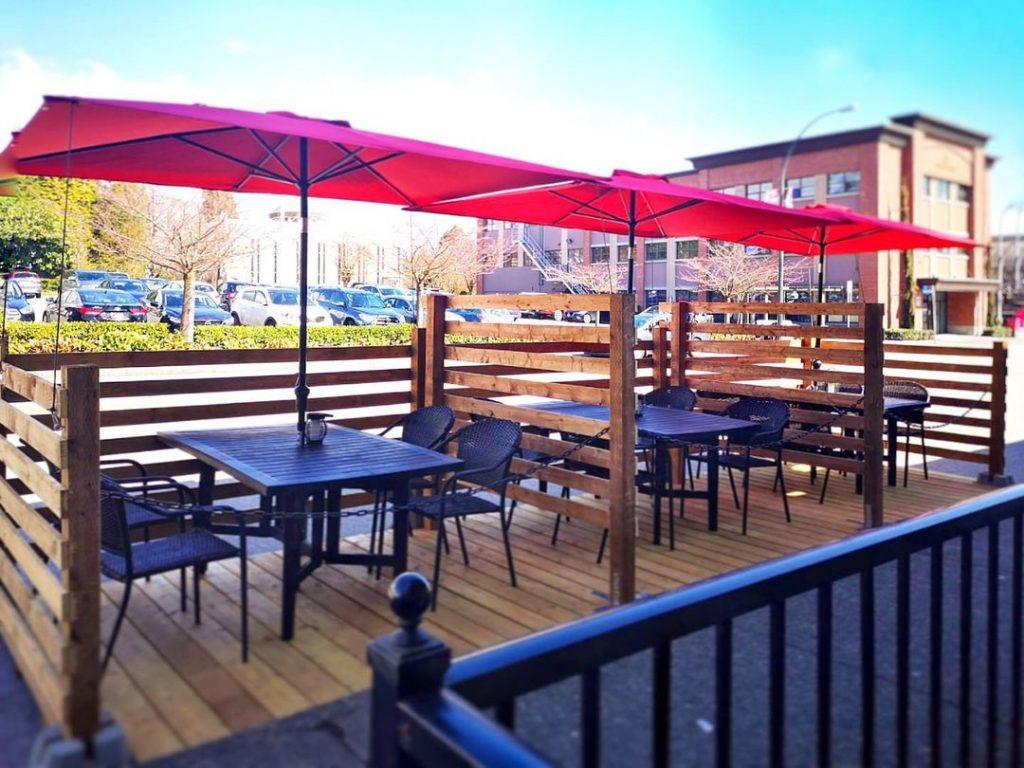 An outdoor patio with umbrellas